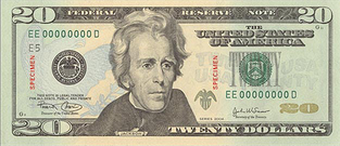 US $20 Bill, Front